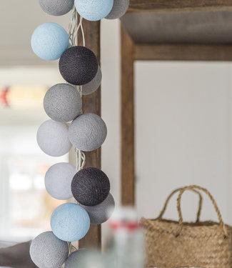 COTTON BALL LIGHTS Regular Light String - Aqua Grey