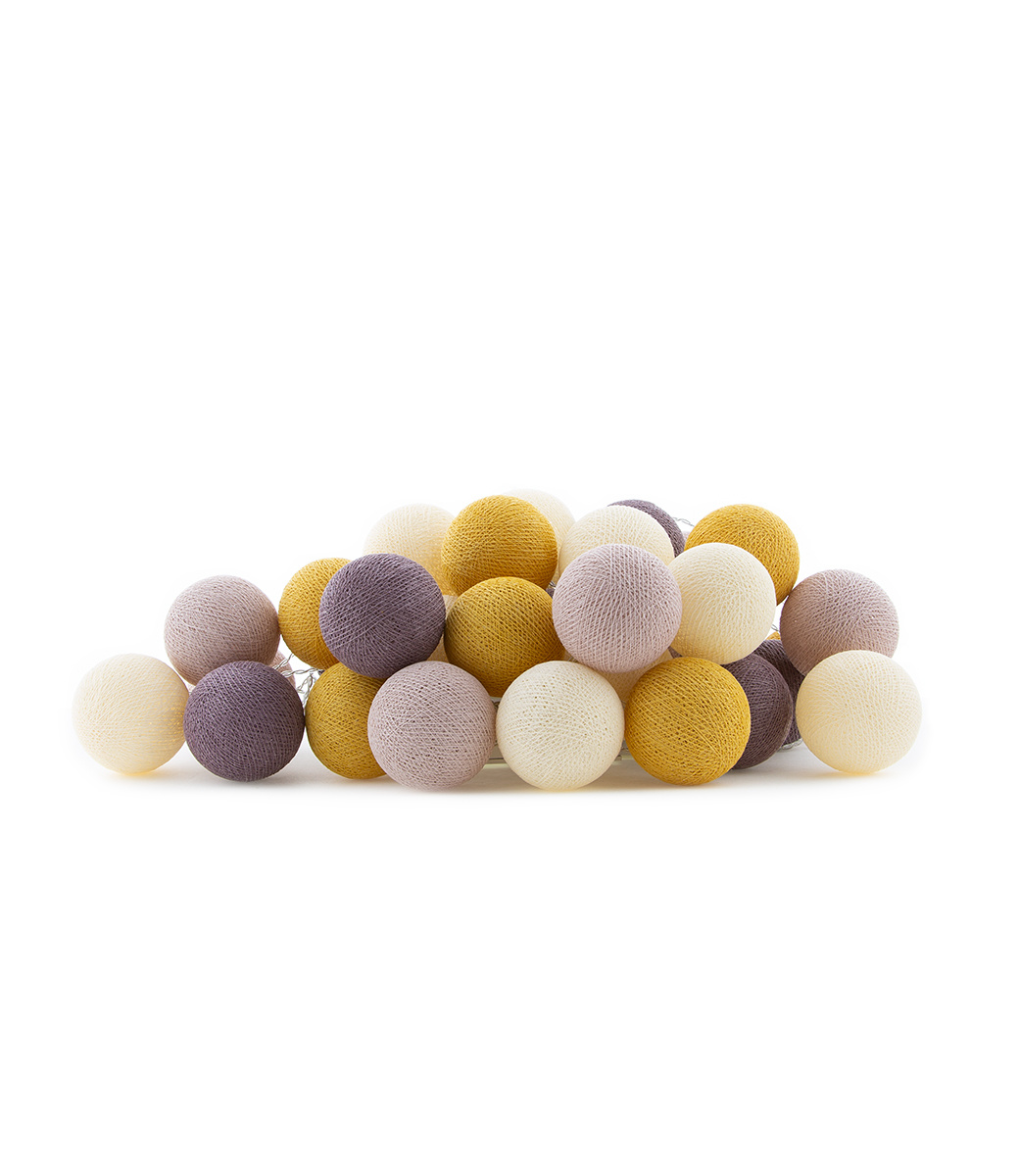 Cotton Ball Lights lichtslinger paars en beige - Adore