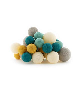 COTTON BALL LIGHTS Premium Lichterkette -   Ocean Green