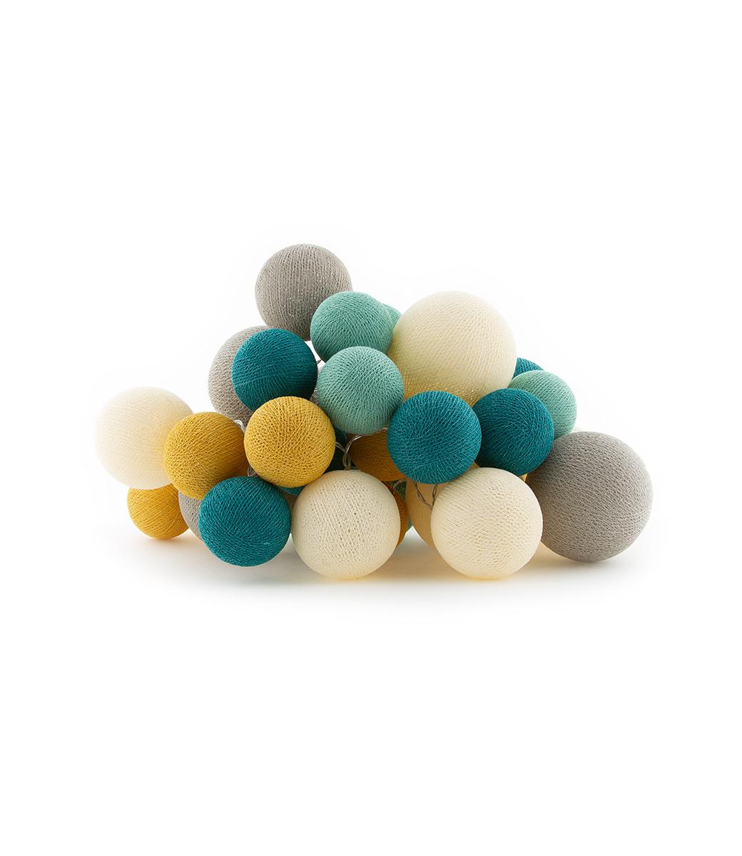 Cotton Ball Lights Premium lichtslinger beige en blauw - Ocean Green