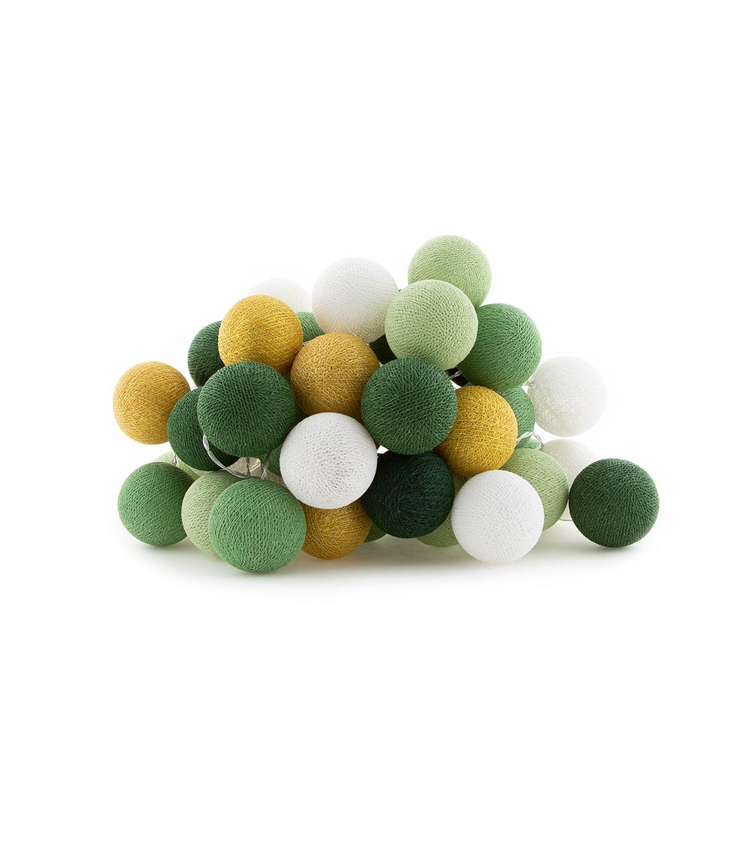 Cotton Ball Lights sparkling lichtslinger groen en goud - Sparkle Palm