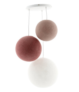 COTTON BALL LIGHTS Triple Hanging Lamp - Dirty Rose (3-Deluxe)