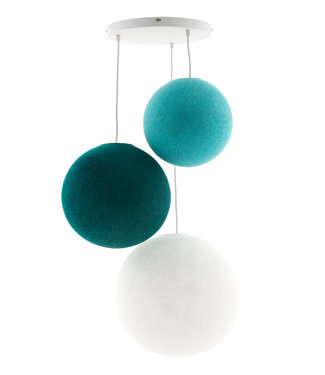 COTTON BALL LIGHTS Triple Haning Lamp 3 point - Ocean Blues