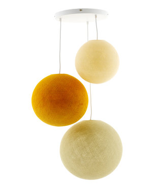 COTTON BALL LIGHTS Triple Hanging Lamp 3 point - Creamy Mustard