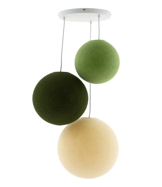 COTTON BALL LIGHTS Triple Haning Lamp 3 point - Jungle Greens