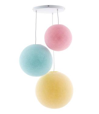 COTTON BALL LIGHTS Triple Hanging Lamp 3 point - Pastel