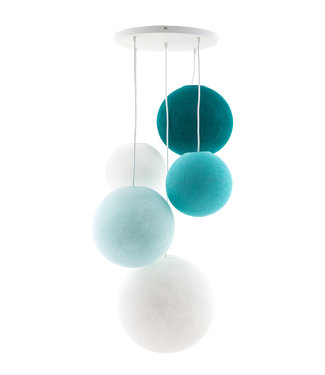 COTTON BALL LIGHTS Fivefold Hanging Lamp - Ocean Blues