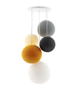 COTTON BALL LIGHTS Fivefold Hanging Lamp - Mustard Glows