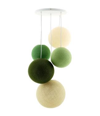 COTTON BALL LIGHTS Fivefold Hanging Lamp - Jungle Greens