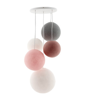 COTTON BALL LIGHTS Fivefold Hanging Lamp - Blushy Greys