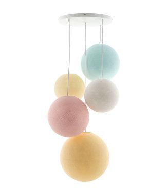 COTTON BALL LIGHTS Fivefold Hanging Lamp - Pastel