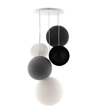 COTTON BALL LIGHTS Fivefold Hanging Lamp - Shades of Grey