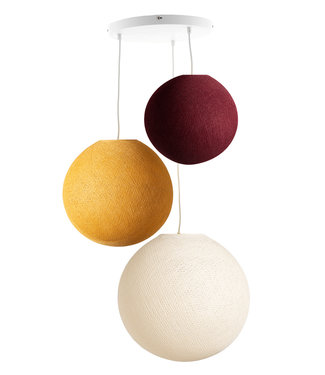 COTTON BALL LIGHTS Triple Hanging Lamp - Honey Red (3-Deluxe)