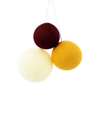 COTTON BALL LIGHTS Triple Hanging Lamp - Honey Red (one point)
