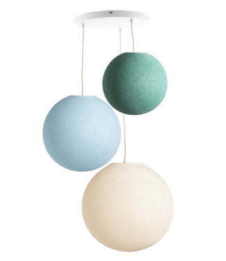 COTTON BALL LIGHTS Triple Haning Lamp 3 point - River Flow