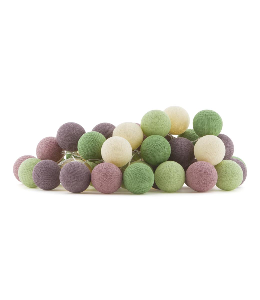 Cotton Ball Lights Regular lichtslinger roze en groen - Forest Fruit