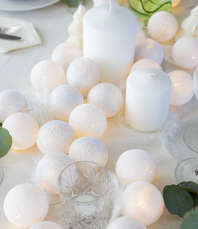 COTTON BALL LIGHTS Sparkling Light String - Silver/White