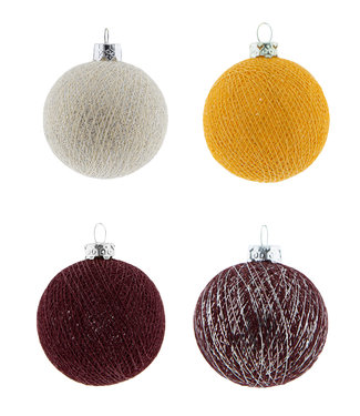 COTTON BALL LIGHTS Weihnachts Cotton Balls - Merry Mustard