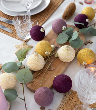 COTTON BALL LIGHTS Christmas Coton Balls - Golden Grape