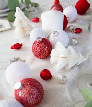 COTTON BALL LIGHTS Weihnachts Cotton Balls - Merry Silver