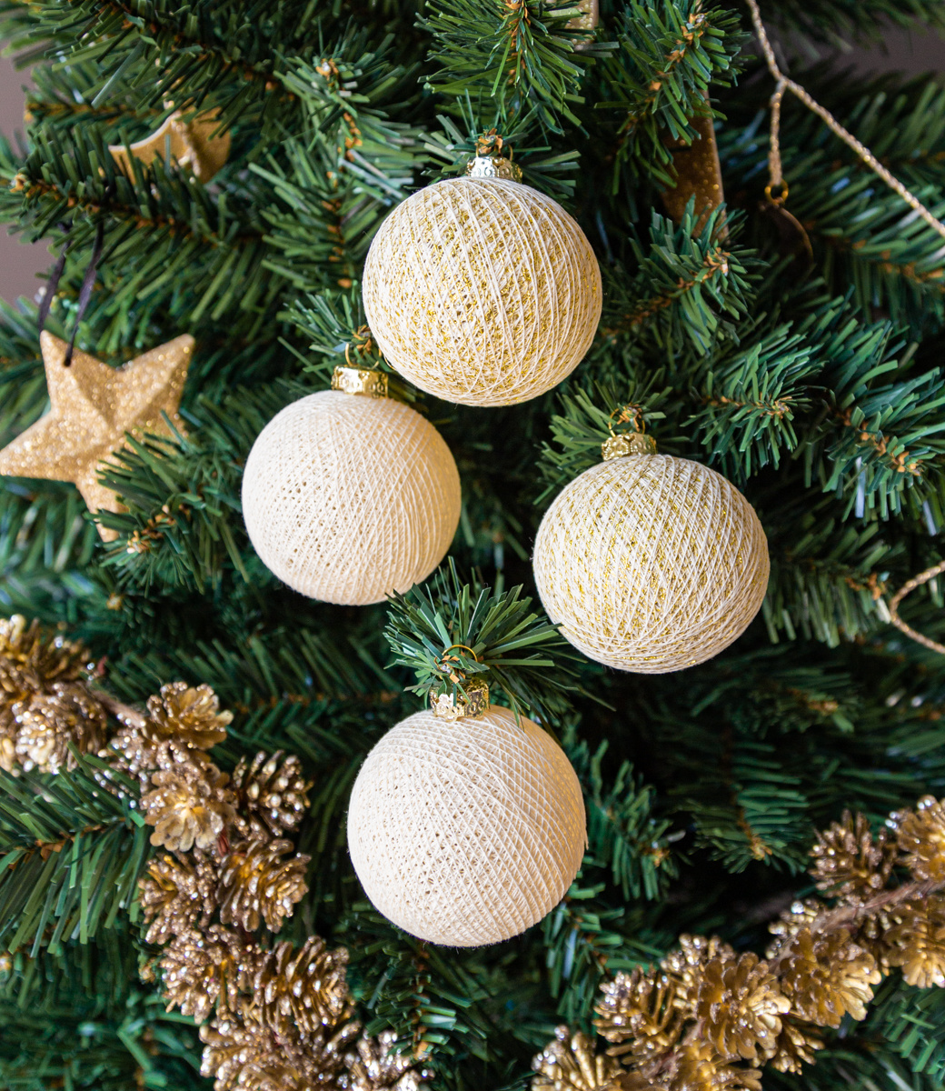 Cotton Ball Lights kerstballen goud - Golden Star