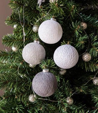 COTTON BALL LIGHTS Christmas Cotton Balls - Silver Mix