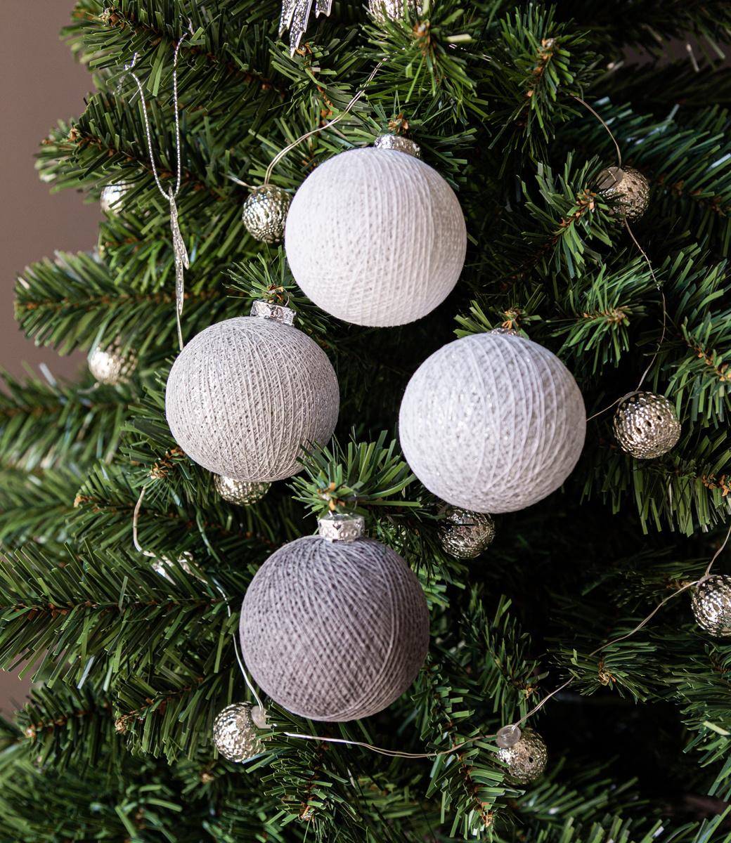 Cotton Ball Lights kerstballen zilver - Silver Mix