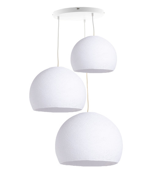 Triple Hanging Lamp 3 point - Three Quarter White