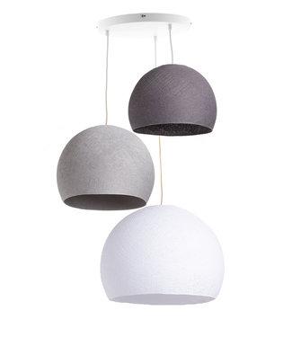 COTTON BALL LIGHTS Drievoudige hanglamp 3 punt - Driekwart Shades of Grey