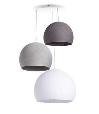 COTTON BALL LIGHTS Triple Hanging Lamp 3 point - Three Quarter Shades of Grey