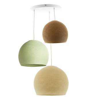 COTTON BALL LIGHTS Triple Hanging Lamp 3 point - Three Quarter Wild Wood