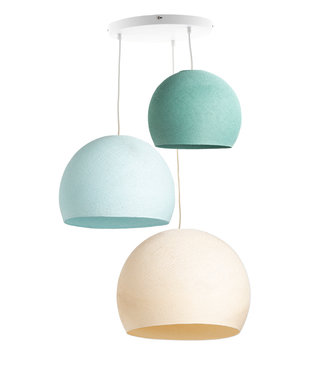 COTTON BALL LIGHTS Triple Hanging Lamp 3 point - Three Quarter River Flow