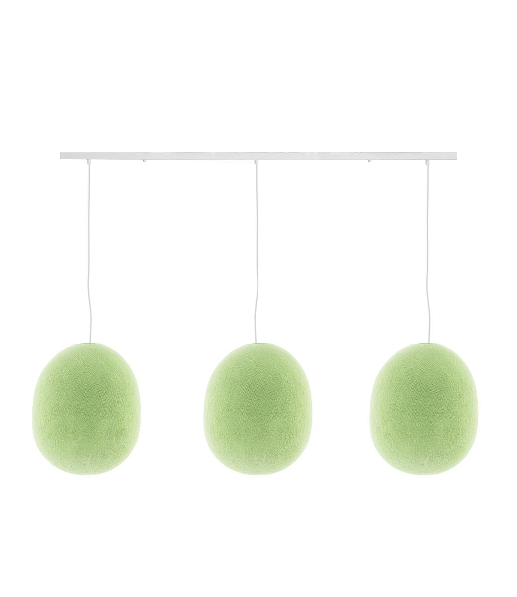 Cotton Ball Lights Drievoudige hanglamp balk - Oval Powder Green
