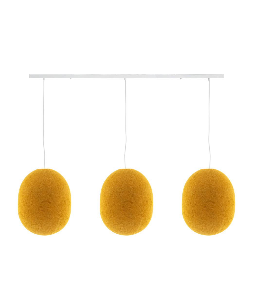 Cotton Ball Lights Drievoudige hanglamp balk - Oval Mustard