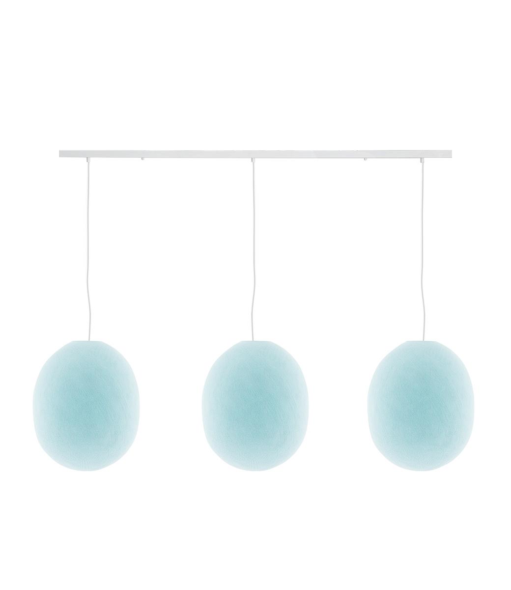 Cotton Ball Lights Drievoudige hanglamp balk - Oval Light Aqua