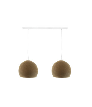 COTTON BALL LIGHTS Double Hanging Lamp Ceiling - Three Quarter Caffe Latte