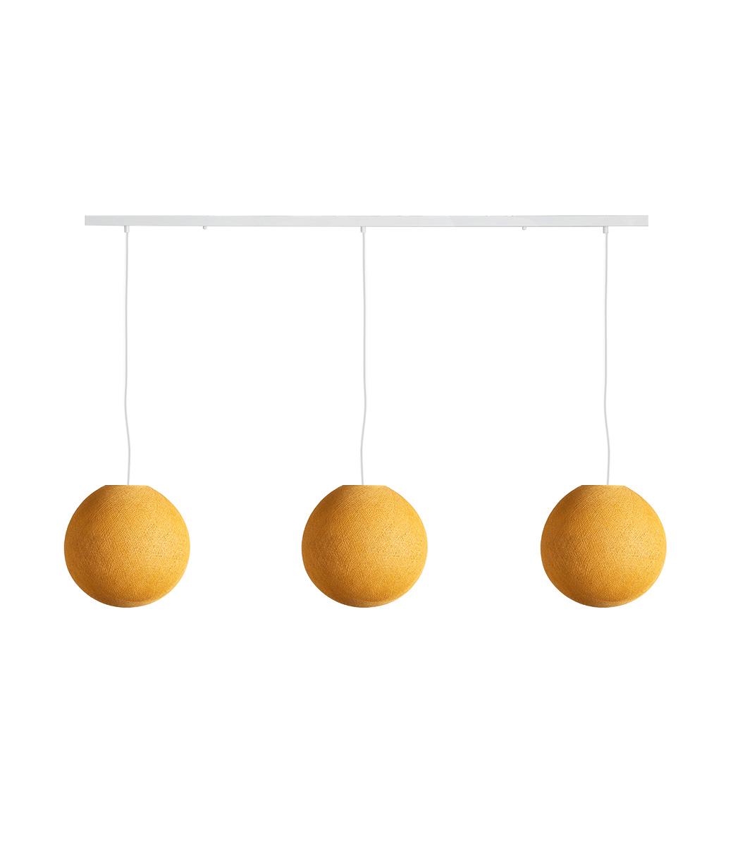 Cotton Ball Lights Drievoudige hanglamp balk - Mustard
