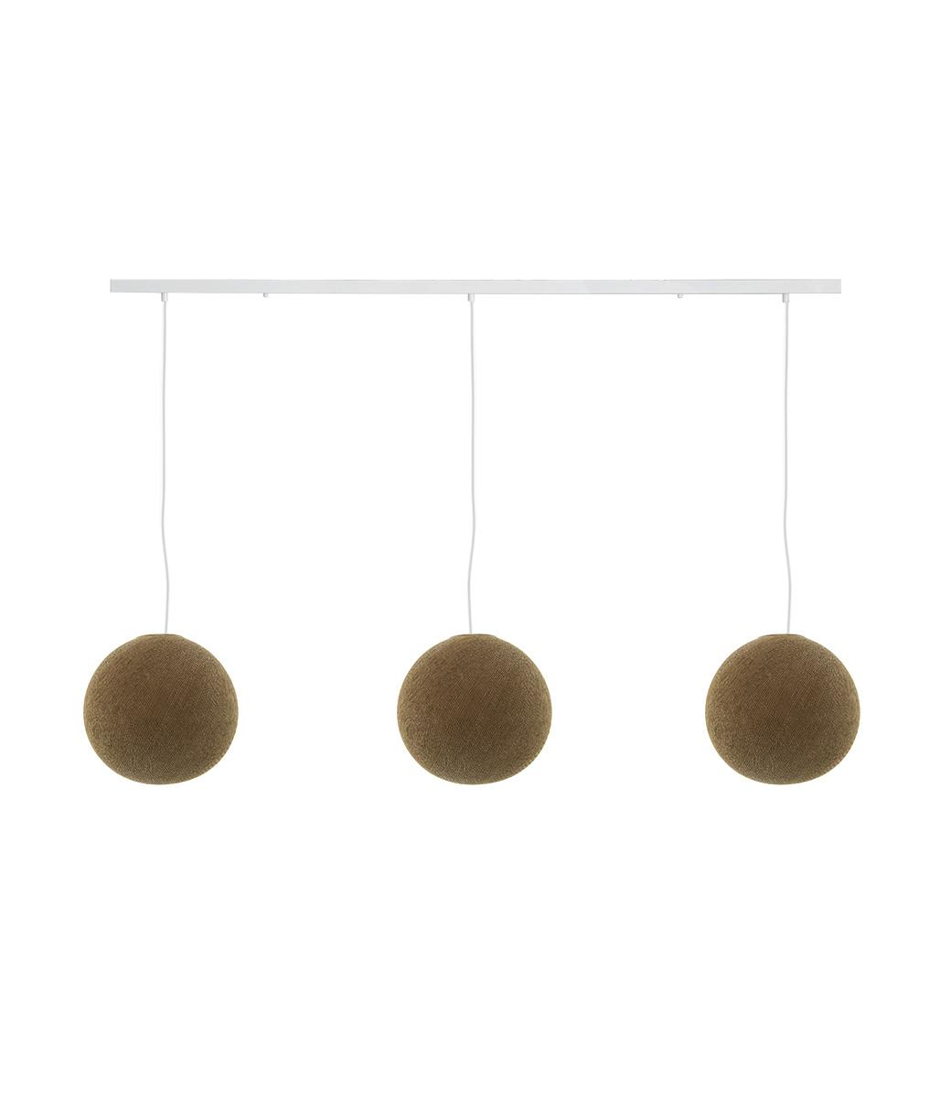 Cotton Ball Lights Drievoudige hanglamp balk - Caffe Latte