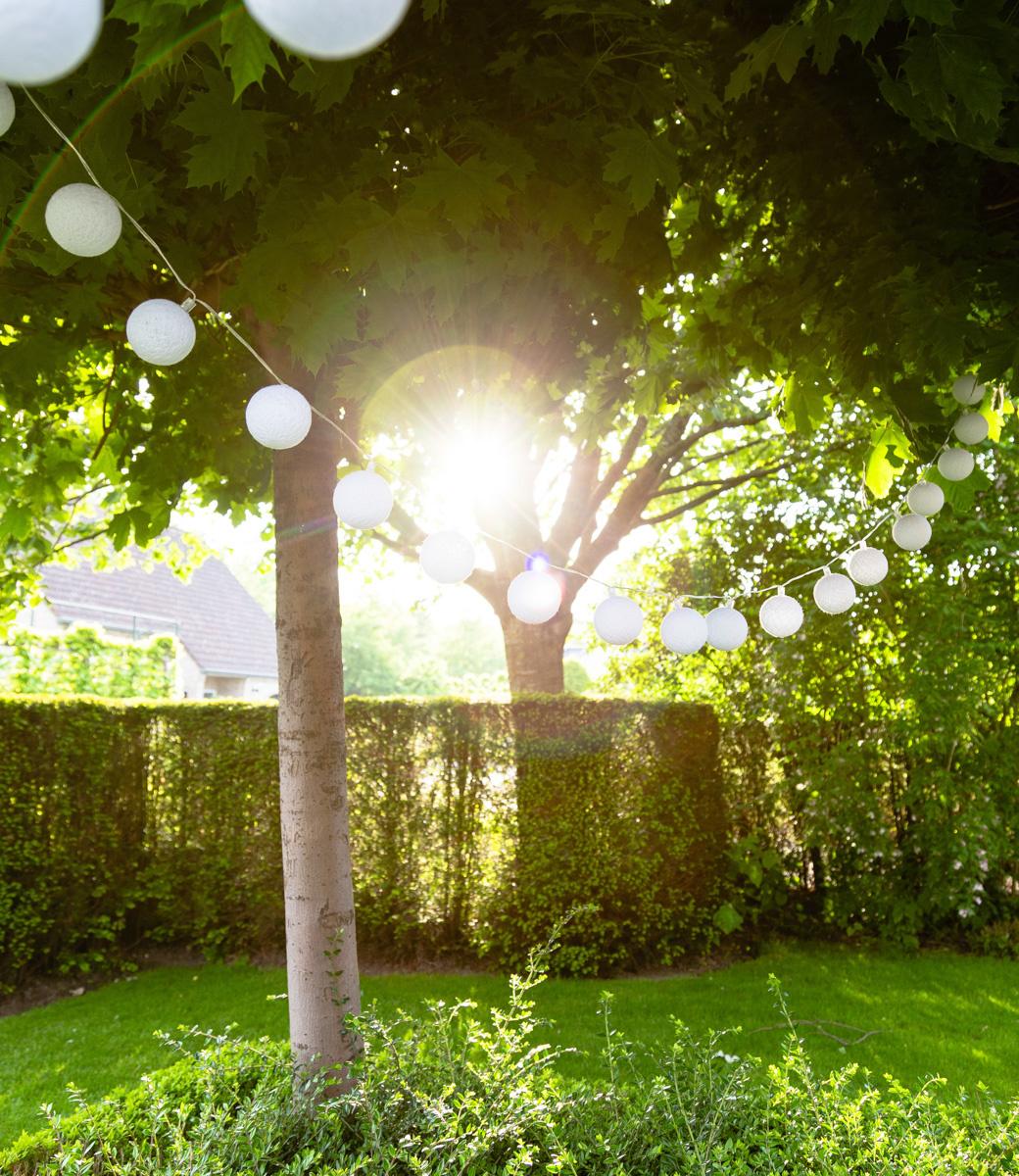 Cotton Ball Lights buiten feestverlichting wit - 20 ballen - Blanco