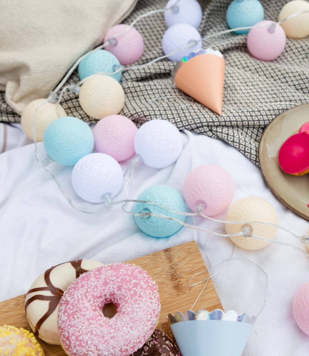 Cotton Ball Lights buiten feestverlichting pastel - 20 ballen - Pastel