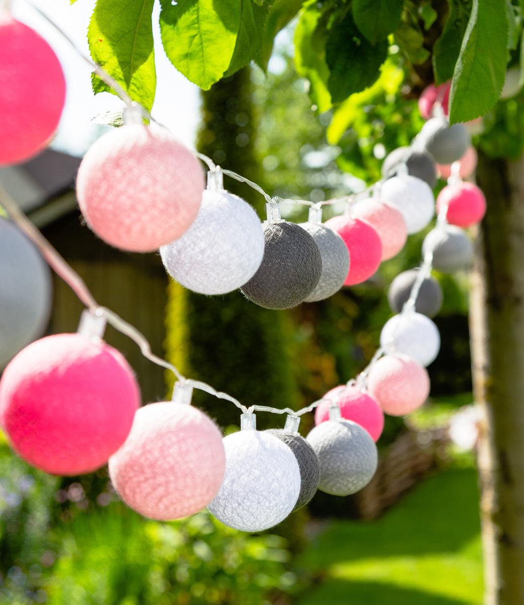 Cotton Ball Lights buiten feestverlichting roze - 20 ballen - Roza