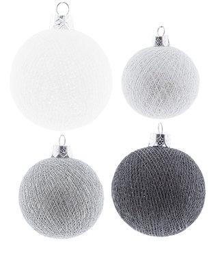 COTTON BALL LIGHTS Christmas Cotton Balls - Silver Mix Premium