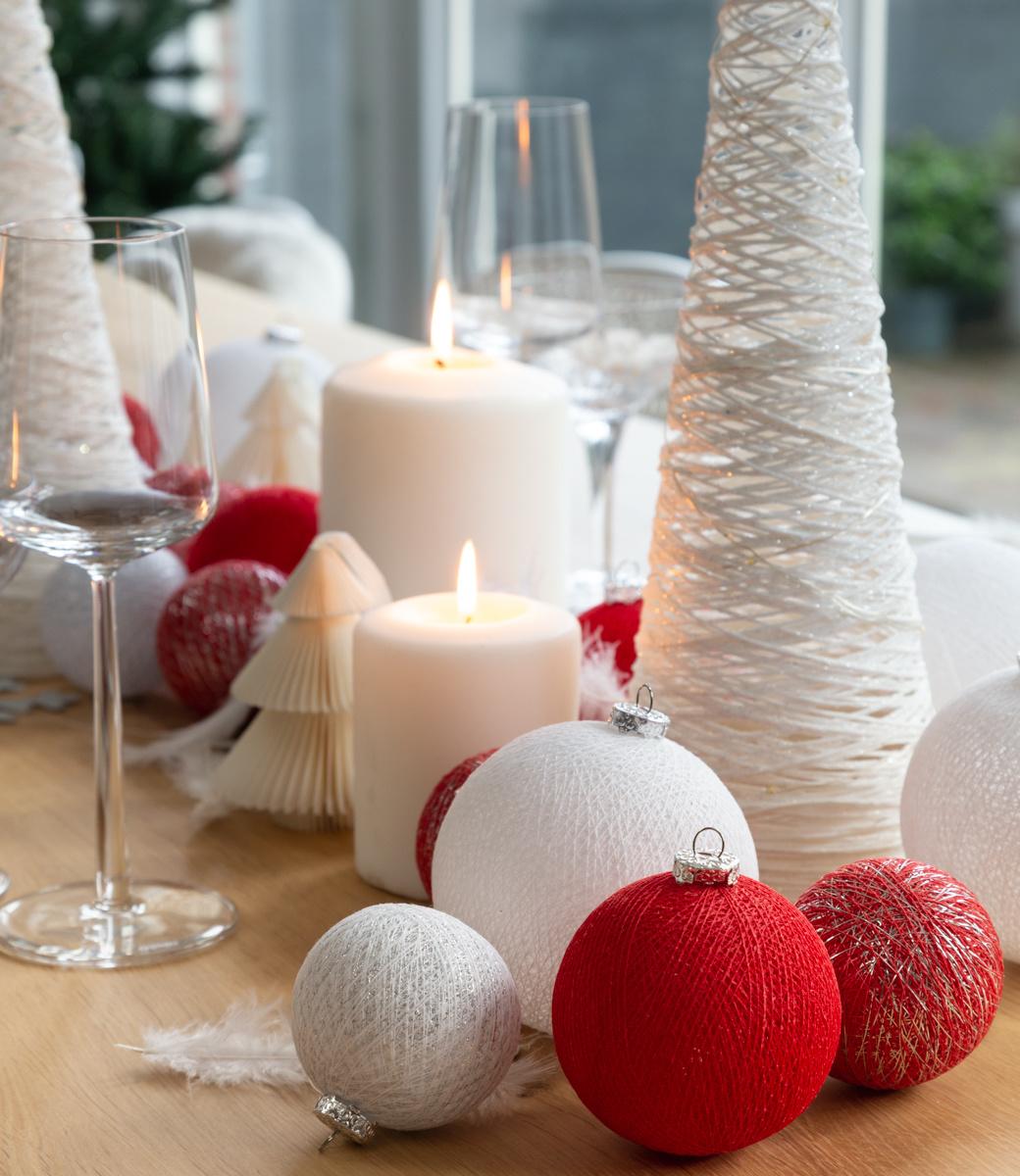 Kerstmis Cotton Balls - Merry Silver Premium