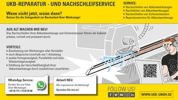 UKB-Nachschleifservice für Abkantwerkzeug und Scherenmesser