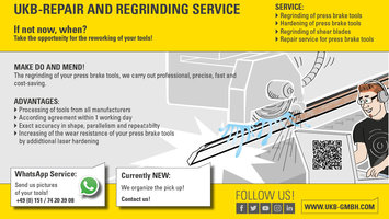 UKB-Regrindingservice for press brake tools and shear blades