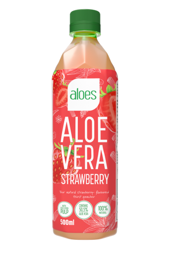Aloes, aloë vera drank Strawberry 500ml pet fles