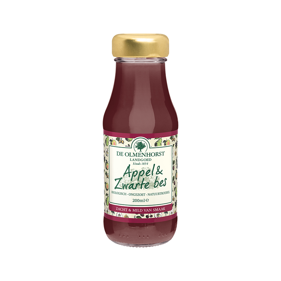 Appel & Zwarte Bessensap - 200ml x 12 - Glas