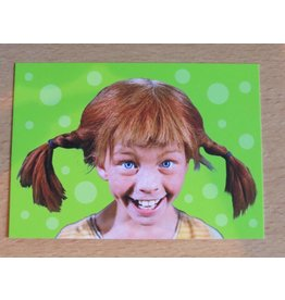 Pippi Langkous Pippi Longstocking card - Face (green)
