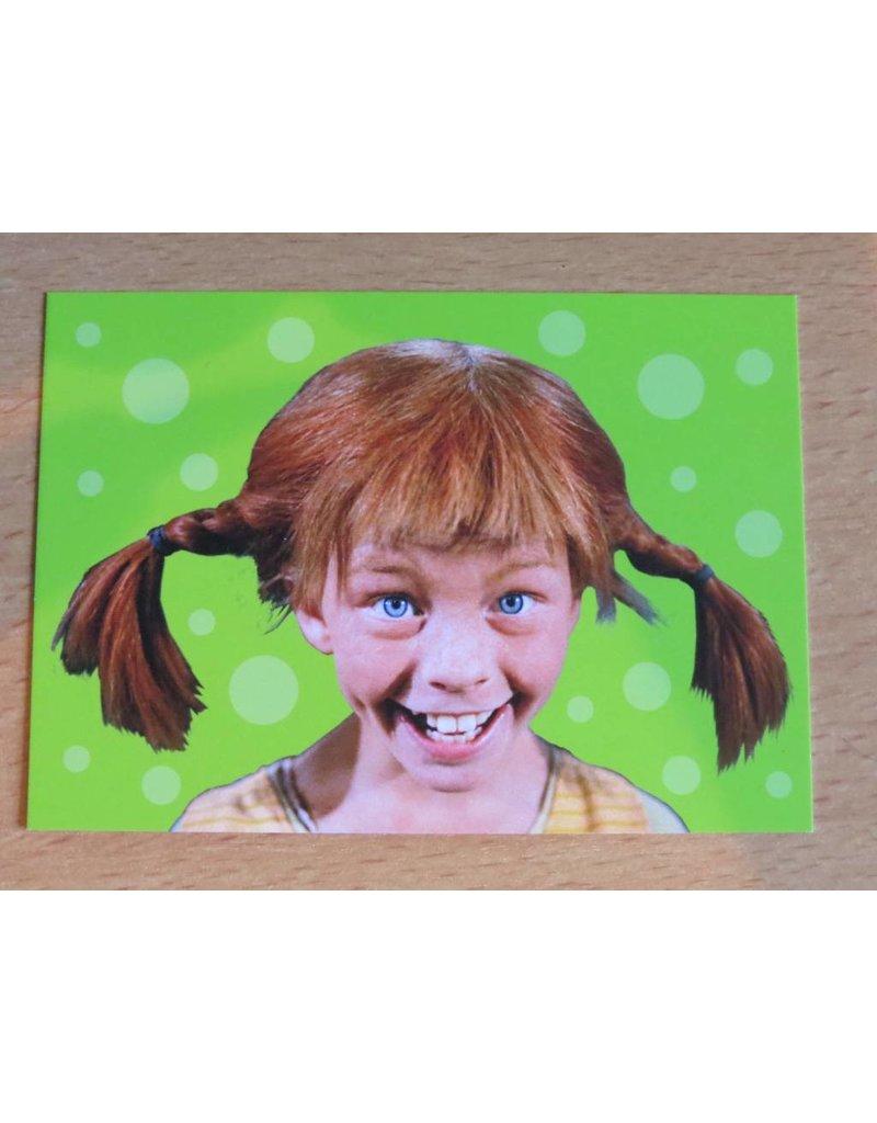Pippi Langkous Pippi Longstocking card - Face (green)