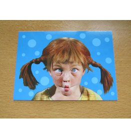 Pippi Langkous Pippi Longstocking card - Face (blue)